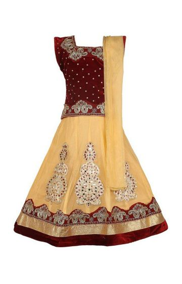 KBKIDSWEAR | Cream Full Length Party Wear Lehenga Choli With Dupatta Set