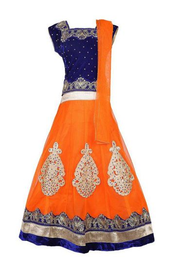KBKIDSWEAR | Orange Full Length Party Wear Lehenga Choli With Dupatta Set