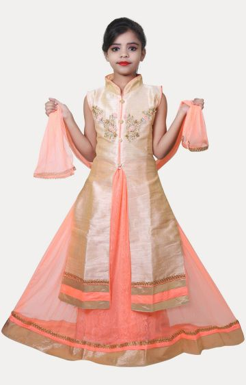 KBKIDSWEAR | Orange and Beige Printed Kurta and Lehenga Set