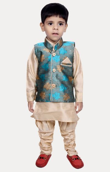 KBKIDSWEAR | Blue and Blue Printed Ethnic Set