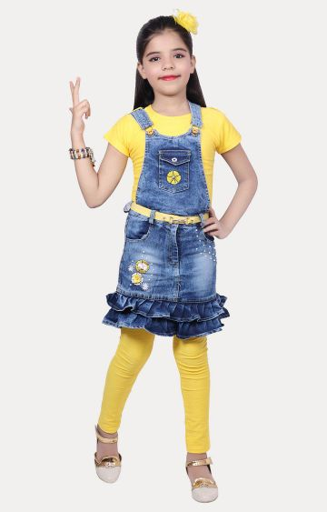 KBKIDSWEAR | Yellow and Blue Printed Dungaree Set
