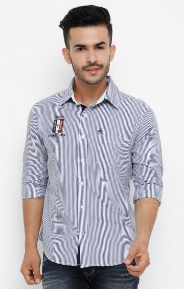 Flyrs Club | Blue Striped Casual Shirt