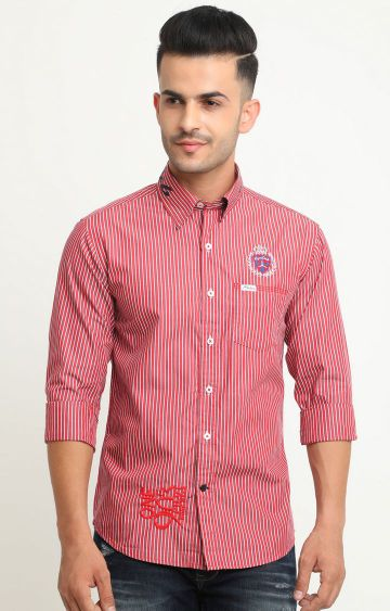 Flyrs Club | Red Striped Casual Shirt