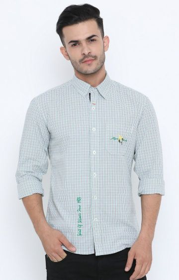 Flyrs Club | Green Checked Casual Shirt