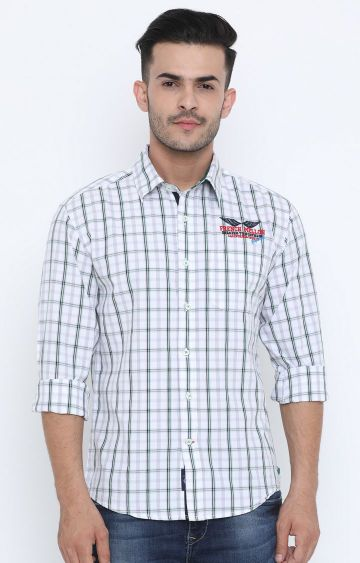 Flyrs Club | White Checked Casual Shirt