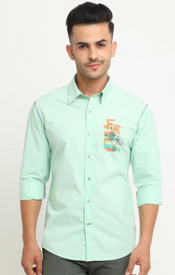 Flyrs Club | Green Solid Casual Shirt