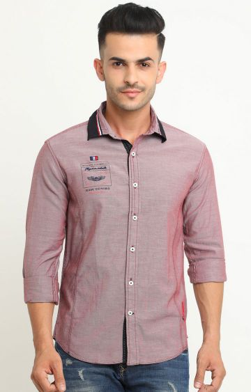 Flyrs Club | Soft Red Solid Casual Shirt