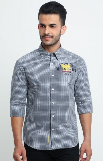 Flyrs Club | Grey Checked Casual Shirt