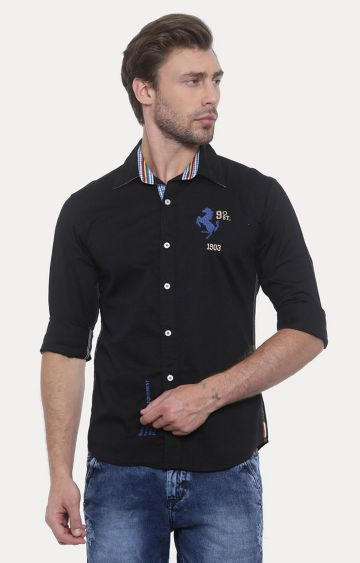 Flyrs Club | Black Solid Casual Shirt