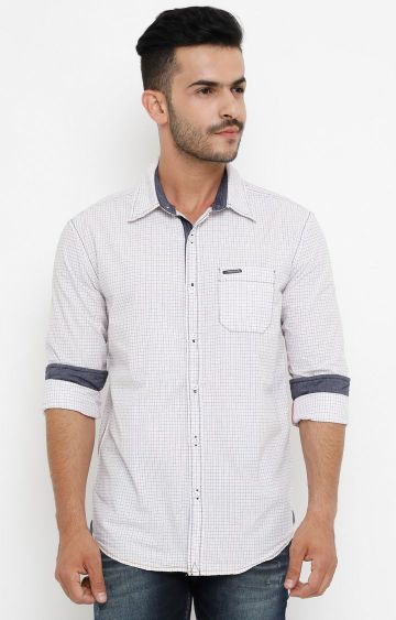 Jackal Berry | White Checked Casual Shirt
