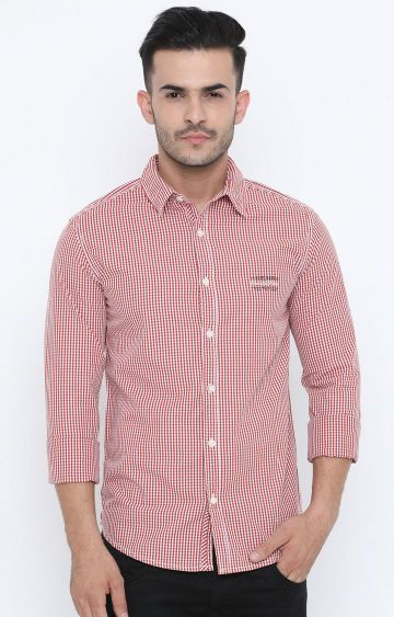 Jackal Berry | Red Checked Casual Shirt