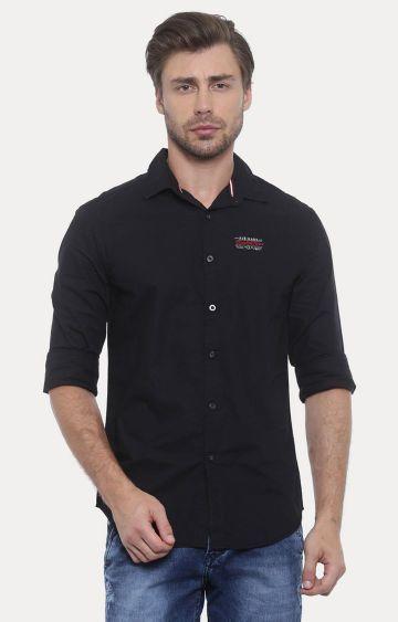 Jackal Berry | Black Solid Casual Shirt