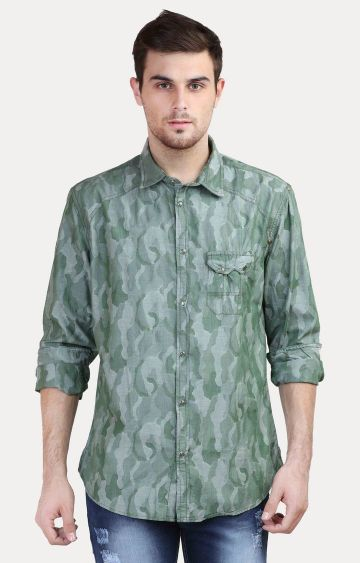 Jackal Berry | Green Printed Casual Shirt