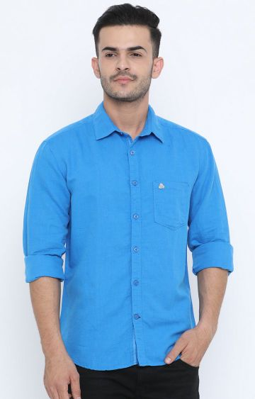 Jackal Berry | Blue Solid Casual Shirt