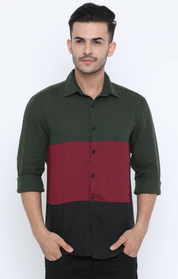 Jackal Berry | Green and Red Colourblock Casual Shirt