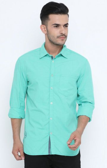 Jackal Berry | Green Solid Casual Shirt