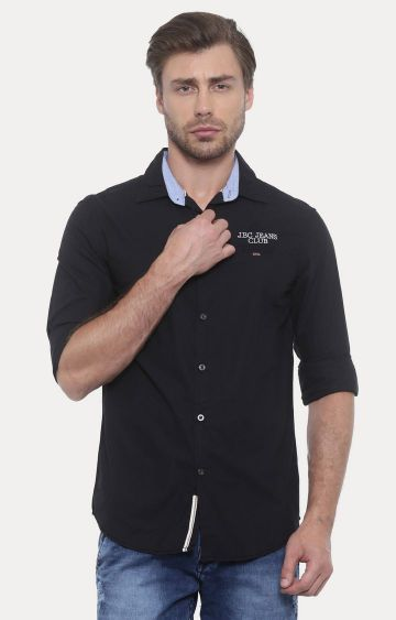 Jackal Berry | Black Solid Casual Shirt