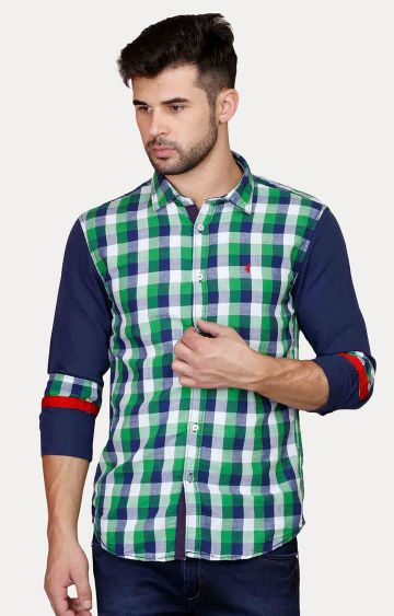 Jackal Berry | Green Checked Casual Shirt