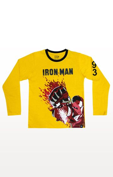 PLANET SUPERHEROES | Yellow Iron Man - Power Red T-Shirt