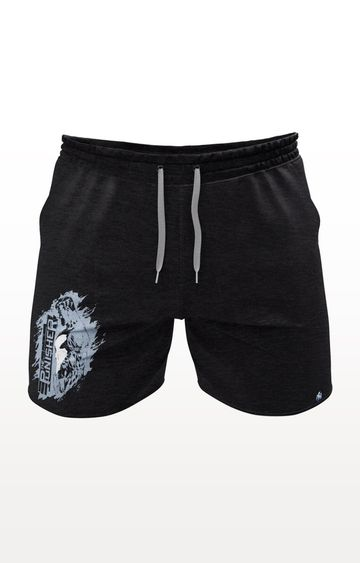 PLANET SUPERHEROES   Black Punisher Side Profile Shorts