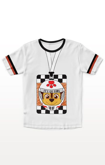 PLANET SUPERHEROES | White Paw Patrol - Chase in Helmet T-Shirt