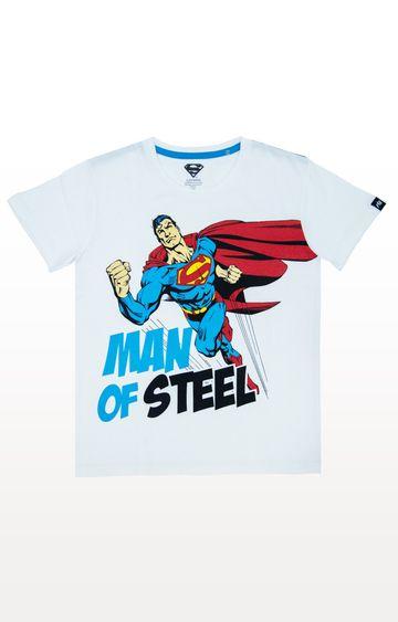PLANET SUPERHEROES | White Superman - Manof Steel T-Shirt