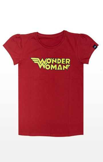 PLANET SUPERHEROES | Red Wonder Woman - Classic Name Logo T-Shirt