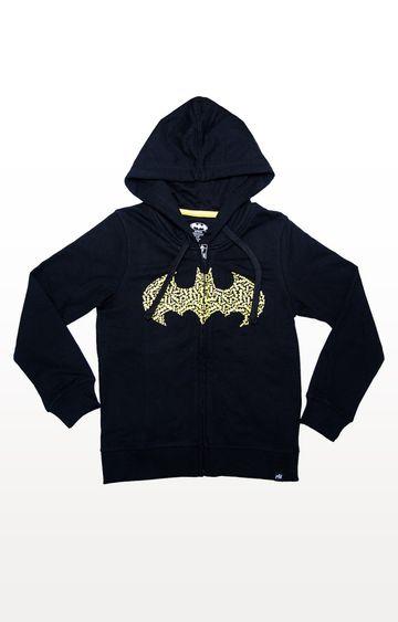 PLANET SUPERHEROES | Black Batman - Textured Logo Hoodie