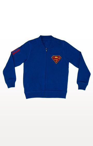 PLANET SUPERHEROES   Blue Superman - Classic Logo Varsity Jacket