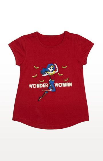 PLANET SUPERHEROES | Red Wonder Woman - Jumping with Logos T-Shirt