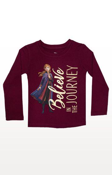 PLANET SUPERHEROES | Burgundy Disney Frozen - Believe T-Shirt