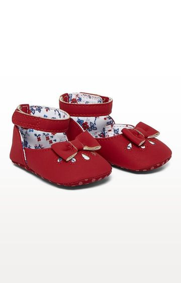 Mothercare | Red Printed Red Punch Out Ballerina Pram Shoes