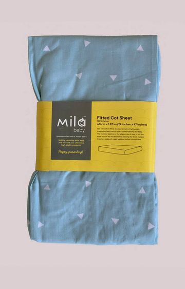 Mothercare | Mila Baby Blue Sprinkles Fitted Cot Sheet Small