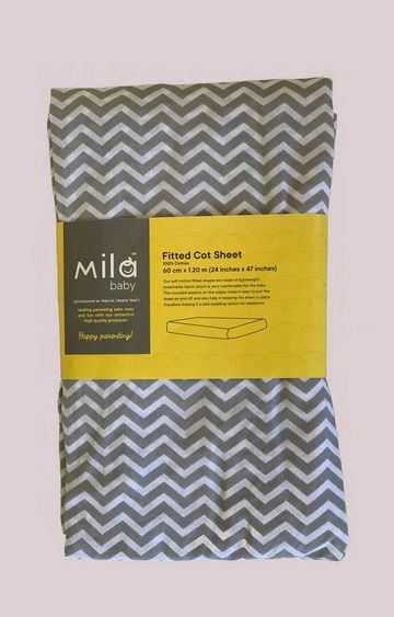 Mothercare | Mila Baby Grey Chevron Fitted Cot Sheet Small