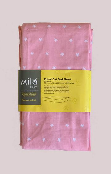 Mothercare | Mila Baby Pink Stars Fitted Cot Bed Sheet Large