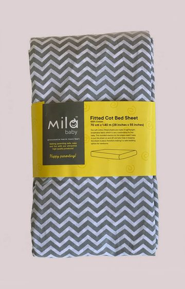 Mothercare | Mila Baby Grey Chevron Fitted Cot Bed Sheet Large
