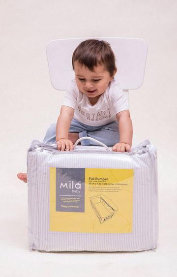 Mothercare | Mila Baby Grey Stripes Cot Bumper -Full