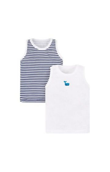 Mothercare | Navy and White Striped Vest - Pack of 2