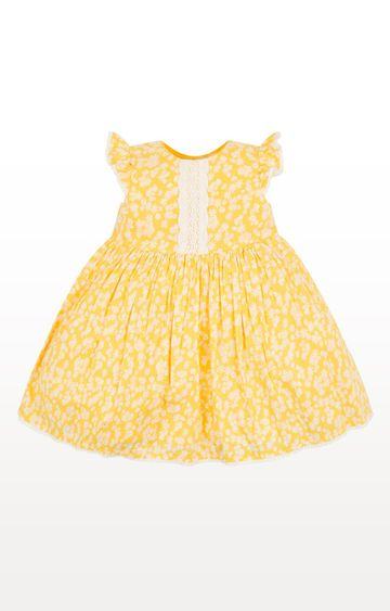 Mothercare   Yellow Floral Dress With Crochet Detail