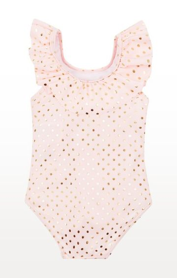 Mothercare | Pink and Gold Printed Polka Dot Swimsuit
