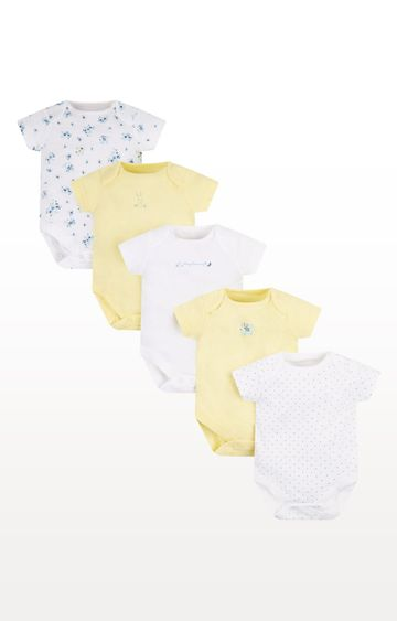 Mothercare | Lemon Bunny Bodysuits - Pack of 5