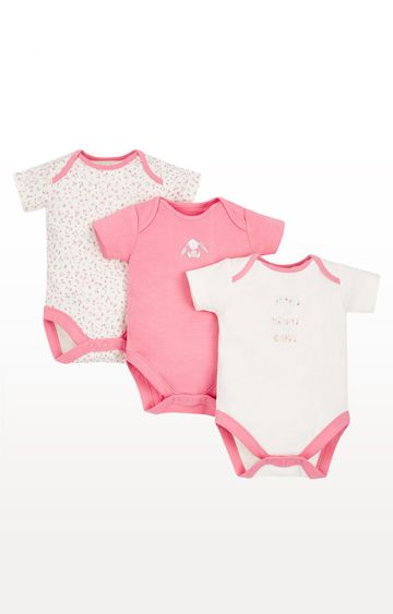 Mothercare   White and Pink Printed Romper - Pack of 3
