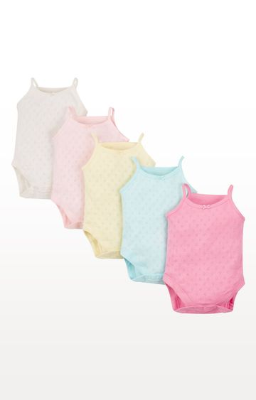 Mothercare | Pastel Pointelle Bodysuits - Pack of 5