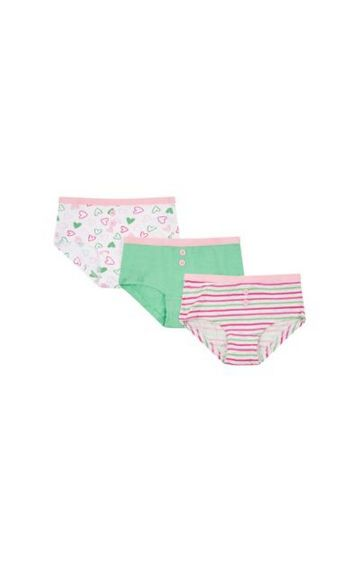 Mothercare | White, Green and Pink Printed Panty - Pack of 3
