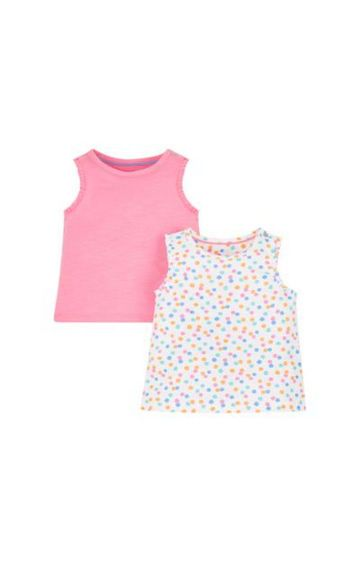 Mothercare | White and Pink Printed Top - Pack of 2