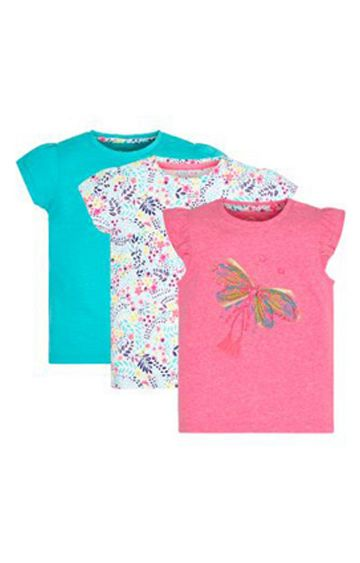 Mothercare | Turquoise, White and Pink Printed Top - Pack of 2