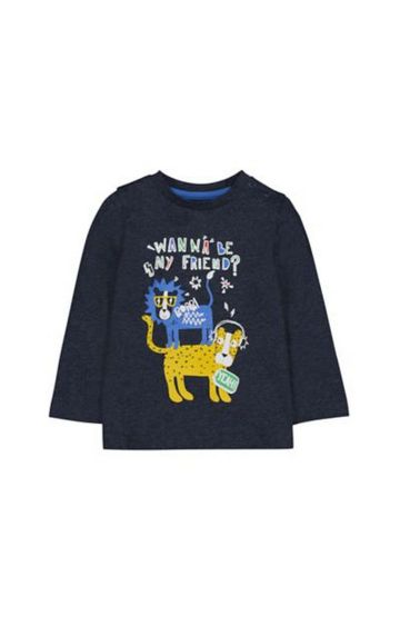 Mothercare | Charcoal Big Cat Friends T-Shirt