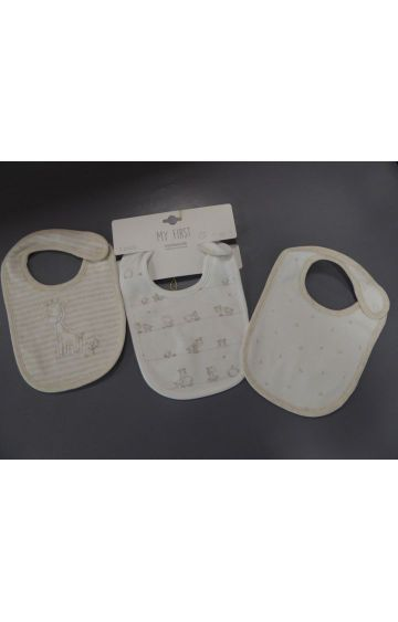 Mothercare   Off White Printed Bibs - Pack of 3
