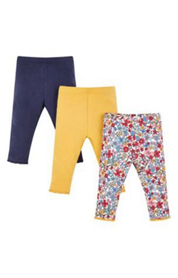 Mothercare | Navy And Mustard Floral Leggings - 3 Pack