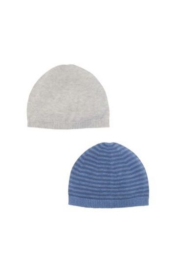 Mothercare | Grey And Striped Knitted Hats - 2 Pack